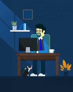workspace background man interior icons dark decoration