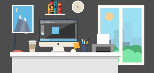 workspace concept with tidy arrangement of tools
