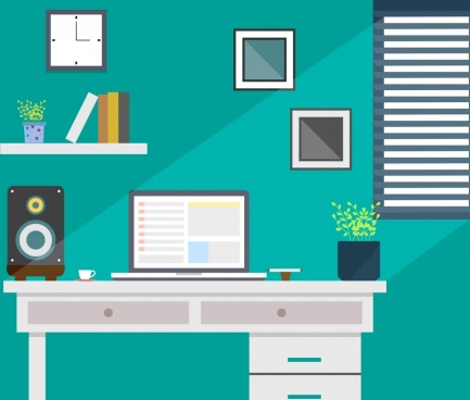 workspace decor colored flat design cozy style