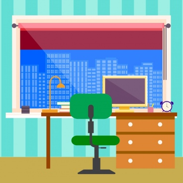 workspace decoration big window working equipment icons