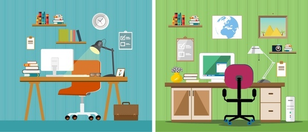 workspace design with various colored types