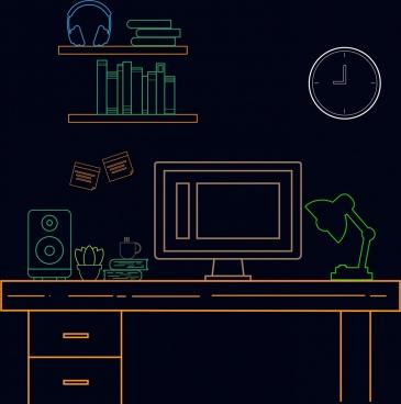 workspace outline colorful flat design