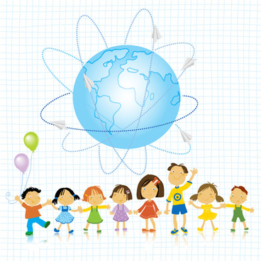 world and kids creative background vector