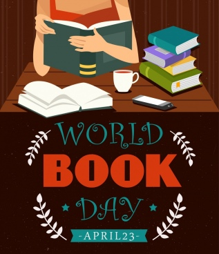world book day banner woman icon texts decoration