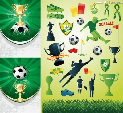 soccer design elements trophy ball player icons