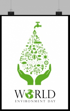 world day banner green symbols droplet layout