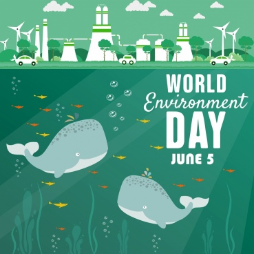 world day banner whales plant icons