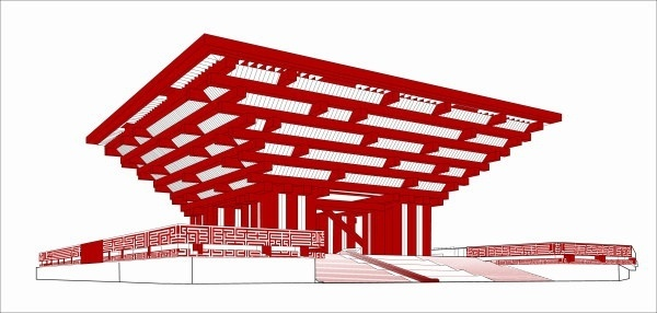 world expo china pavilion vector