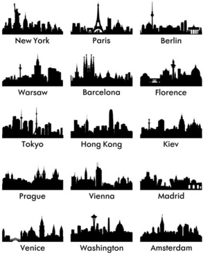 world famous cities silhouettes vector set