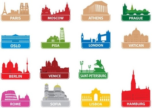 city labels templates colorful architecture symbols silhouette decor