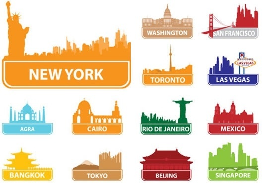 cities symbols stickers colored flat decor