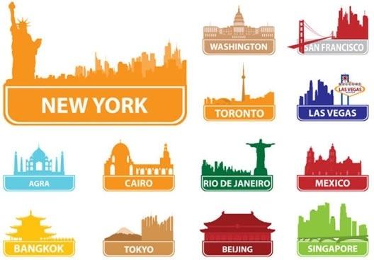 world famous city building vector
