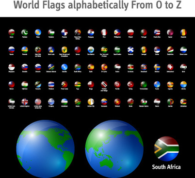 world flags icons vector set