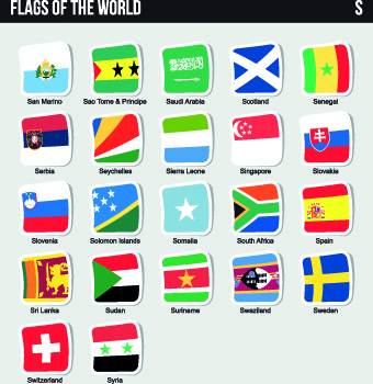 world flags stickers design vector set