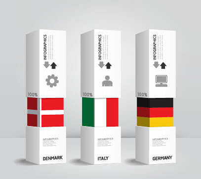 world flags with infographics design vector