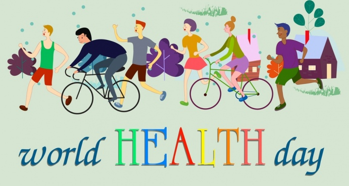 world health banner exercising people icons decor