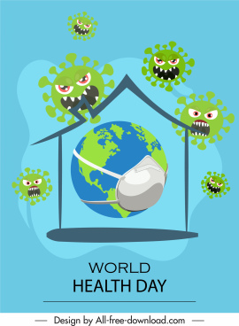 world health banner masking earth stylized virus sketch