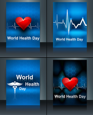 world health day beautiful presentation brochure collection set template concept with medical symbol vector design