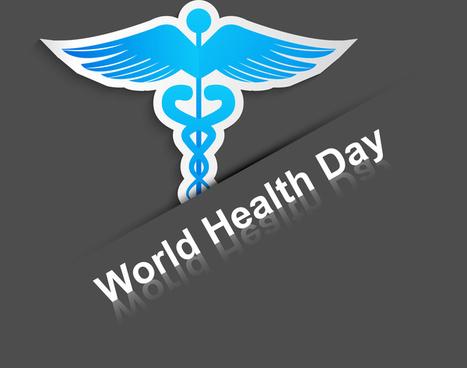 world health day concept medical background on caduceus medical symbol illustration vector