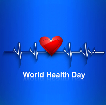 world health day concept with heart beats blue colorful medical vector background