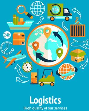 world logistics elements vector design