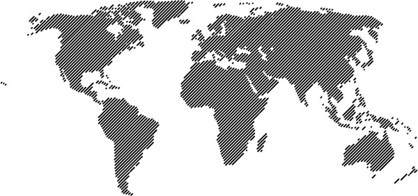 World Map 45° Lines Vector