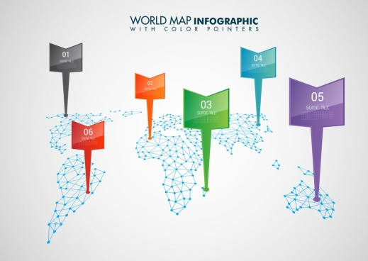 world map infographic template colorful pointers continental decoration