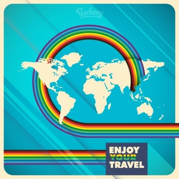 world map travel illustration