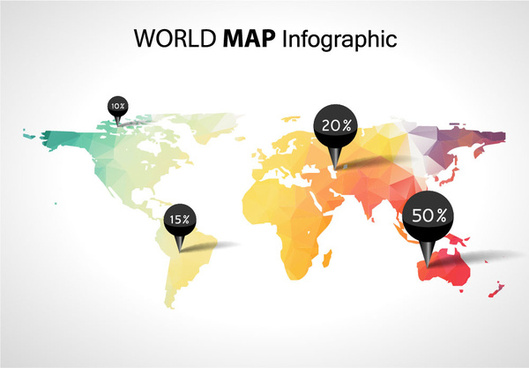 world map with business infographic vector