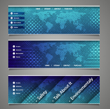 world maps and modern banners vector