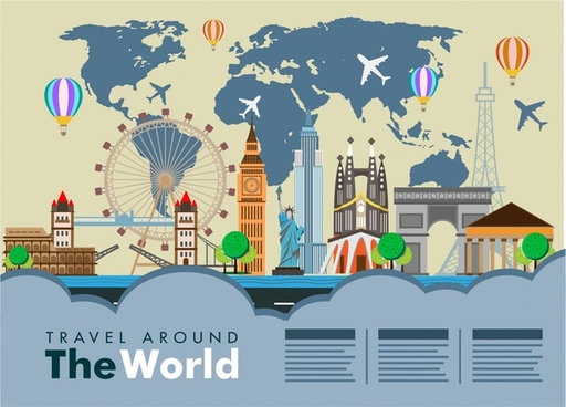 world travel banner famous places on map background