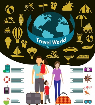 world travel design elements family tourists and symbols