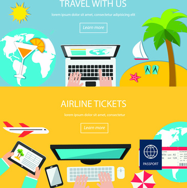 world travel design elements vector illustration