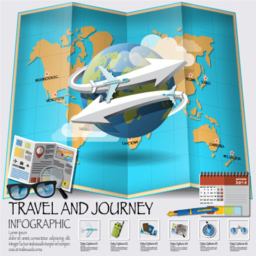 world travel infographics vector set