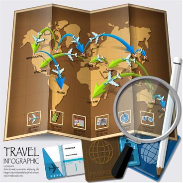 world travel infographics vector set