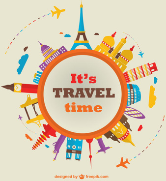 world travel time vector background