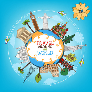 world travelling elements creative vector set