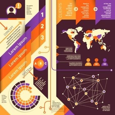 world wide infographic retro style