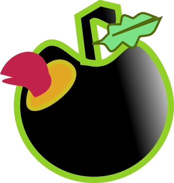 Worm And Black Apple clip art