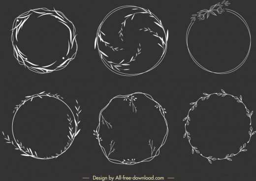 wreath design elements circle leaves decor handdrawn sketch