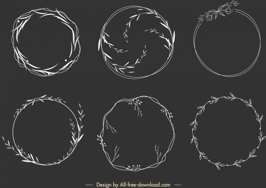 wreath design elements circle leaves decor handdrawn sketch