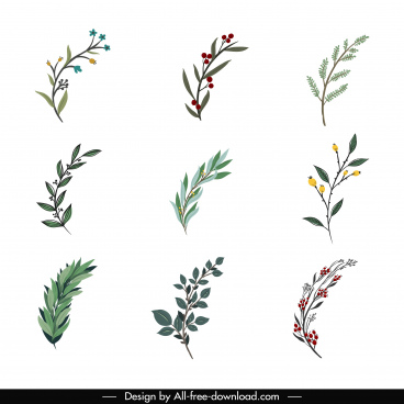 wreath design elements floral leaf sketch