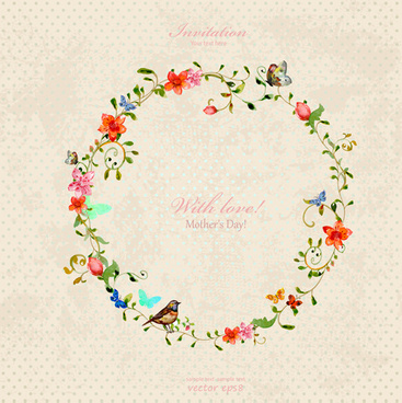 wreath mother day invitation cards vector