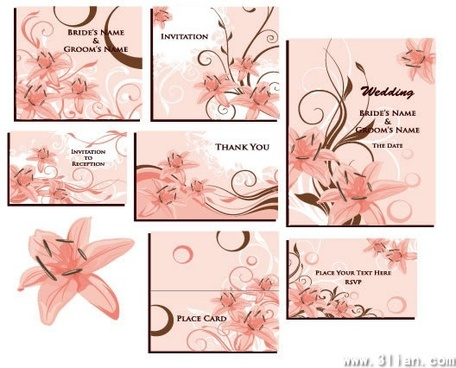 wedding card templates pink botany decor classical design