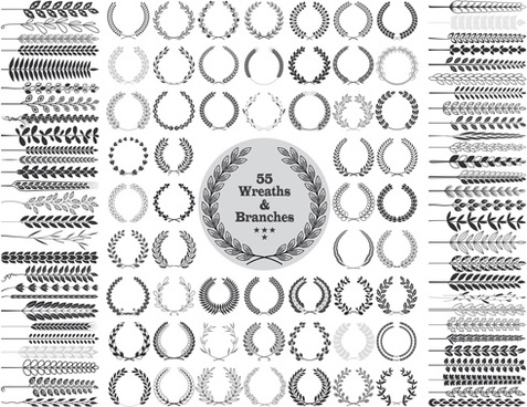 wreaths and branches design vector
