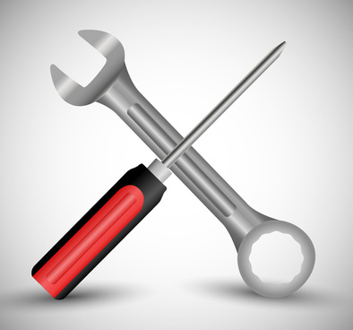 wrench and screw driver vector illustration