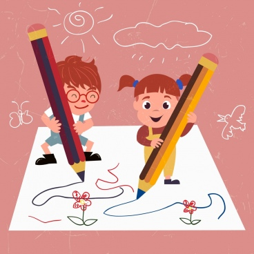 writing drawing cute kids pencils handdrawn lines sketch