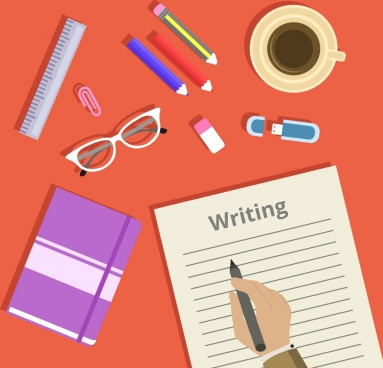 writing work theme tools page book hand icons