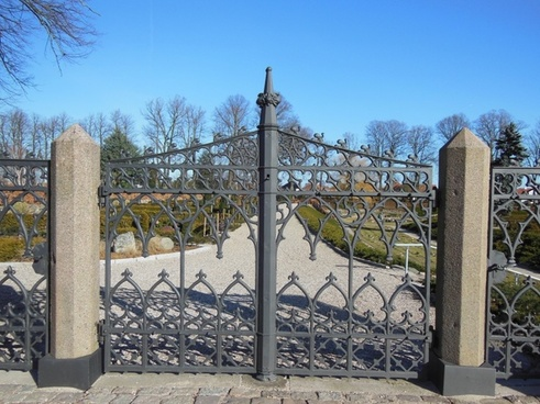 wrought iron gates old patterned