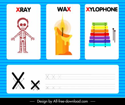 x alphabet education background skeleton wax xylophone sketch